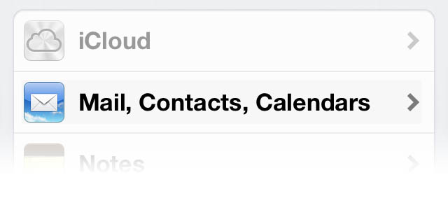 Tap Mail Contacts Calendars
