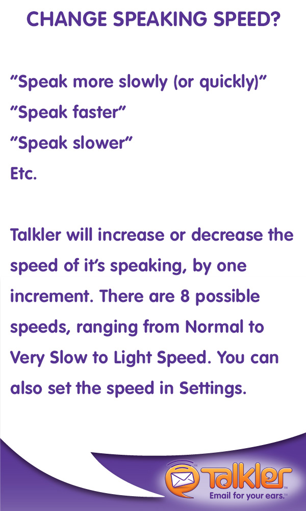 Talkler Tips - Talking Speed