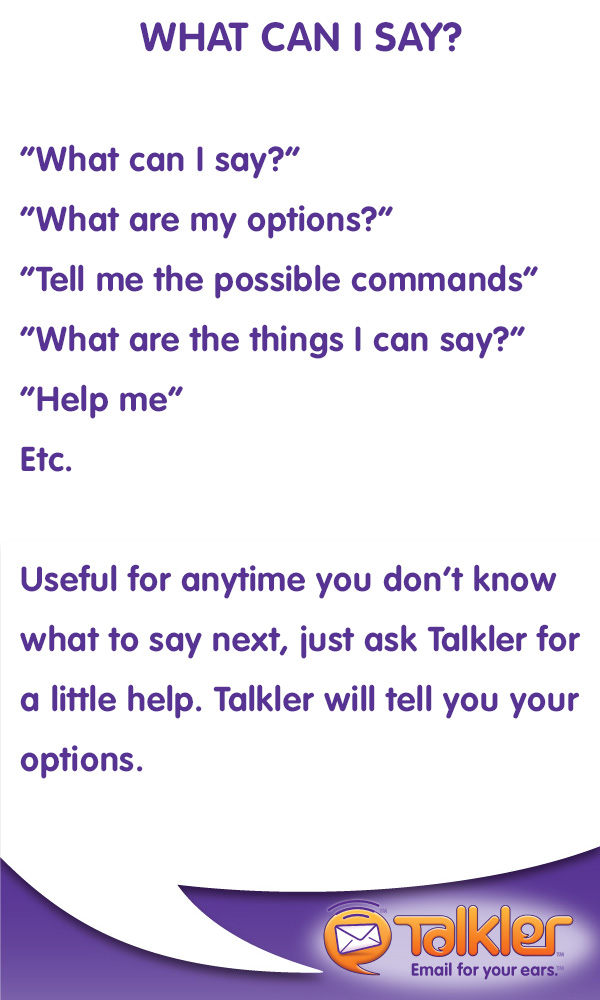 Talkler Tips - What Can I Say?