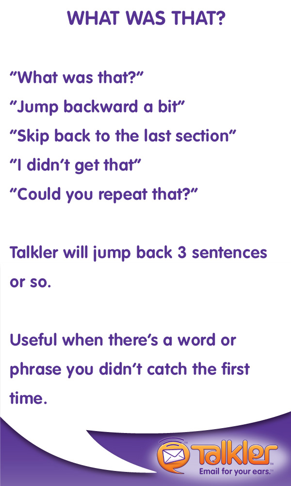 Talkler Tips - What Was That?